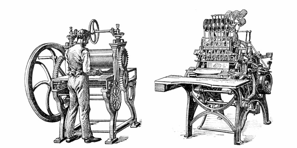 historical binding equipment - laminating and sewing machines