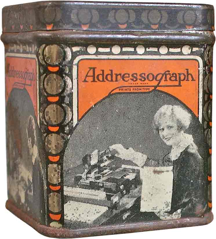 Addressograph tin