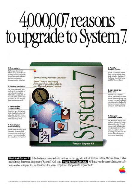 Advert about an upgrade of the Mac to System 7 OS