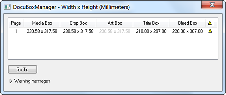 This Apogee Prepress plugin for Acrobat shows page box dimensions