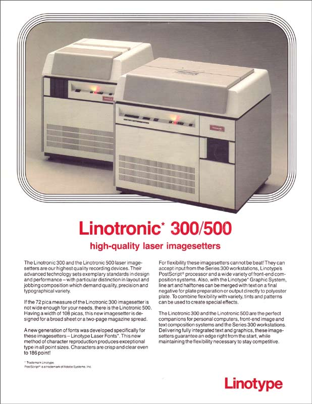 Linotronic advertissement