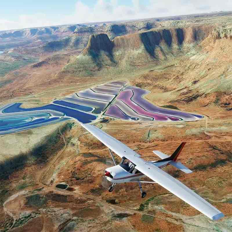 Utah potash ponds in Microsoft Flight Simulator 2020