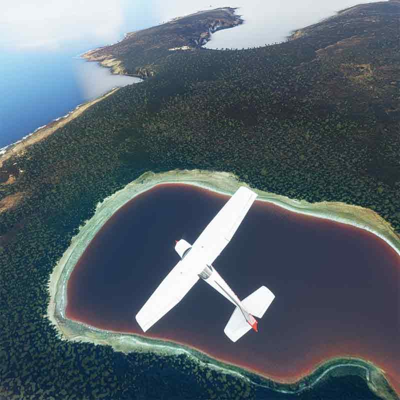 Lake Hillier in MS Flight Simulator