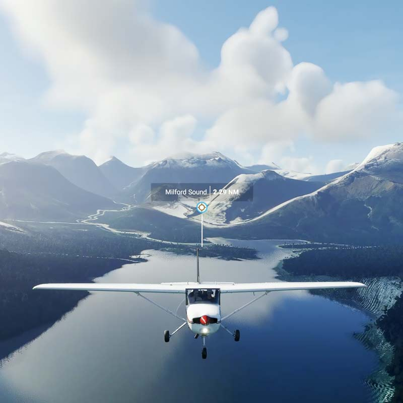 Milford Sound in Microsoft Flight Simulator 2020