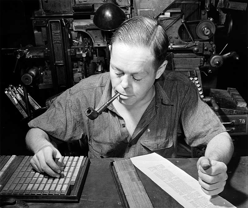 New York Times - typesetting the index in 1942