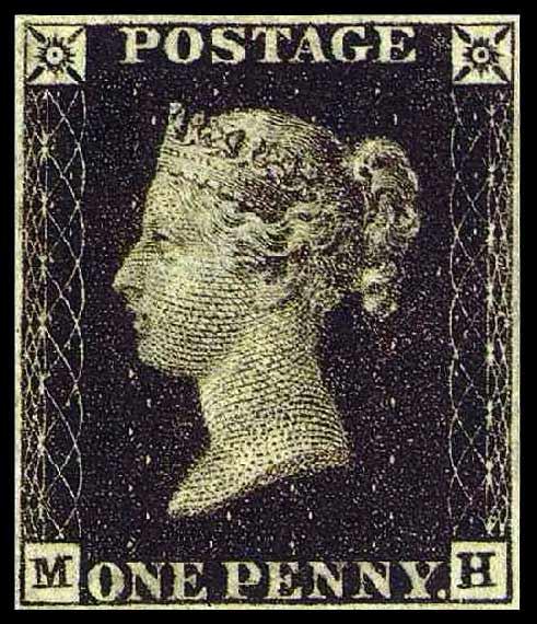 Penny Black adhesive postage stamp