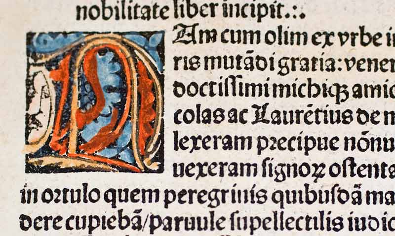 hand-painted initial in book