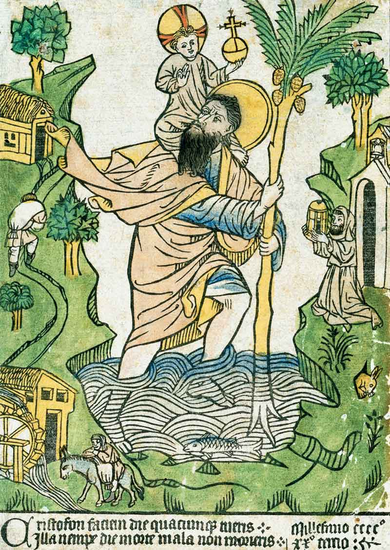 Saint Christopher - early European woodcut