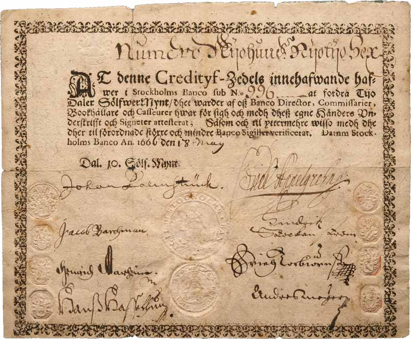 First printed banknotes
