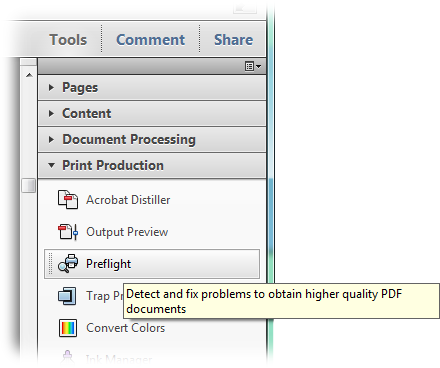 The preflight option in the Acrobat X Tools panel