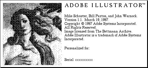 The startup screen of Adobe Illustrator in 1987