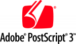 Emblem used to indicate that a printer or platesetter supports PostScript 3