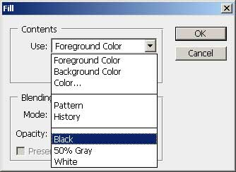 Photoshop fill with black