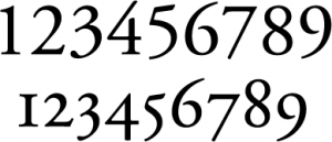 Adobe Garamond Pro old style numerals (below)