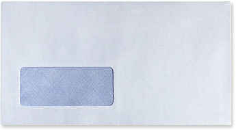 Blank white window envelope