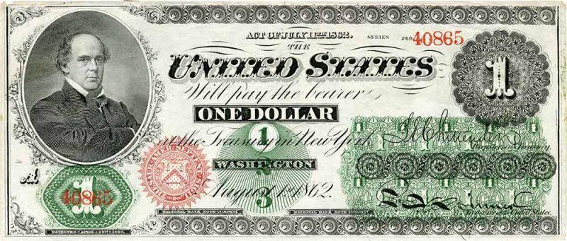 first US one dollar bill
