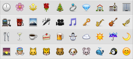 Apple Color Emoji typeface used in iOS and Mac OS X 10.7 Lion