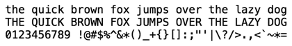 Menlo, a fixed width typeface