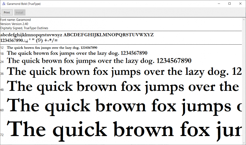 preview of TrueType font