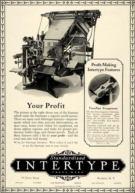 Advert for hot metal typesetting equipment from the International Typesetting Machine Company