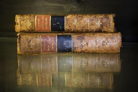 Books on display in the Château de comtes de Marchin