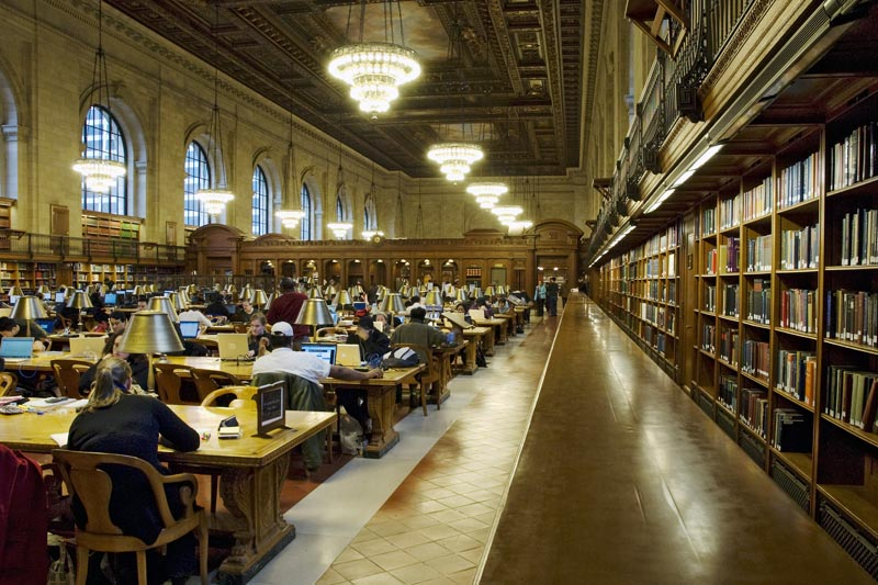The interior of the Public Library in 5th avenue in Manhattan, New York
