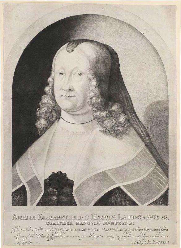 Mezzotint portrait of Amelia Elizabeth, landgravine of Hesse