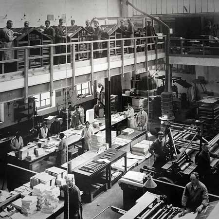 Historic photo from around 1930 of Erasmus, a printer in Ledeberg, Belgium