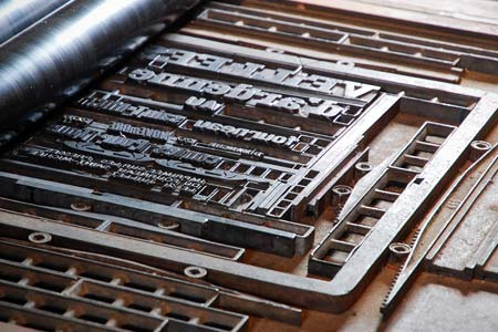 Detail of the printing press at the historic museum of Fourneau Saint-Michel