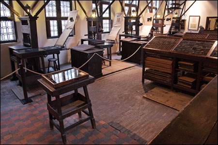 The press room at the Plantin-Moretus museum