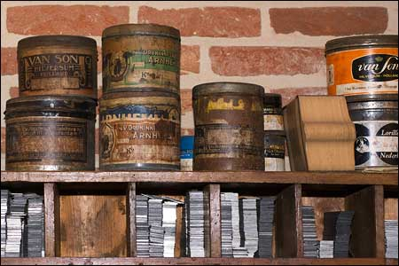 Old ink pots and some lead type
