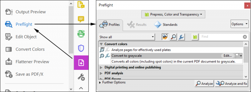 how to convert a pdf to grayscale in Acrobat