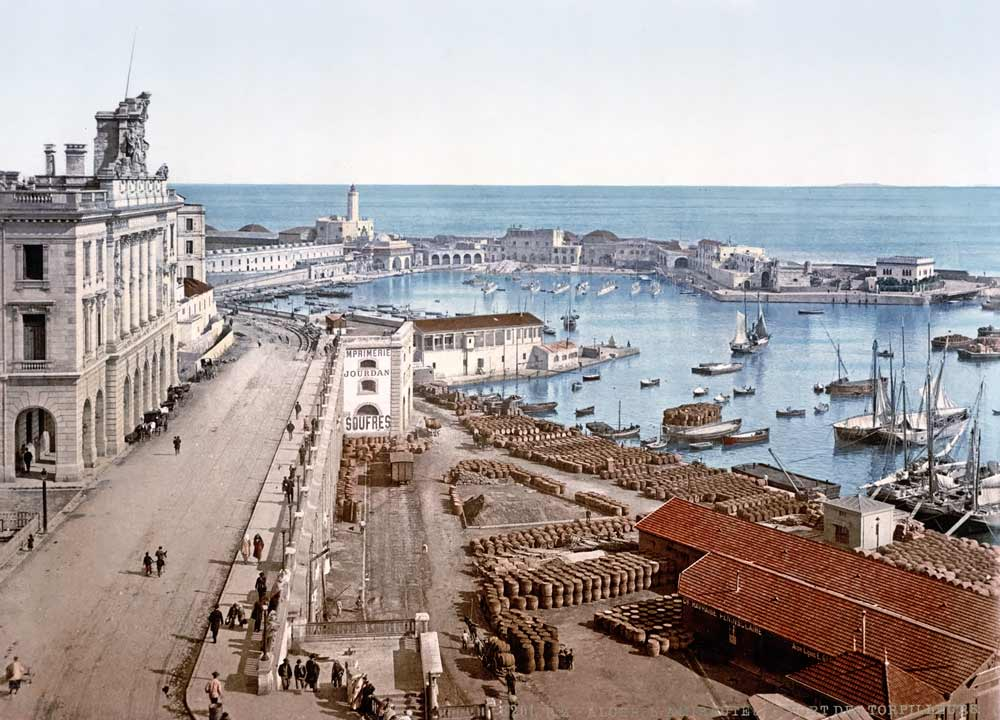 Vintage photochrom of Algiers harbor