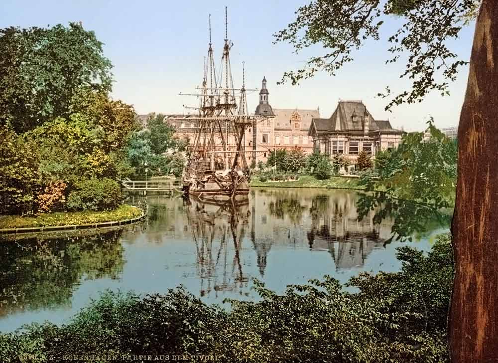 old postcard of Park Tivoli in Copenhagen
