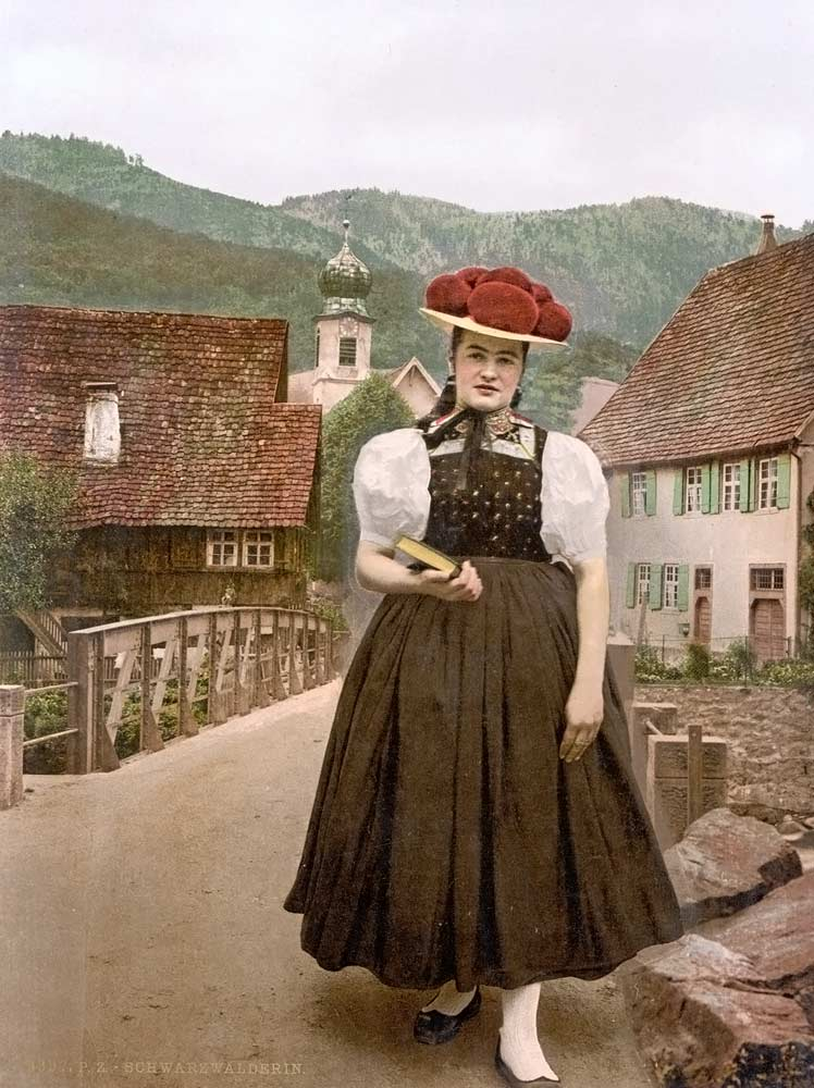 old postcard from a girl in the black forest