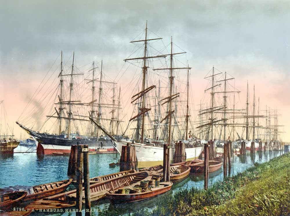 Postcard of sailboats in Hamburg