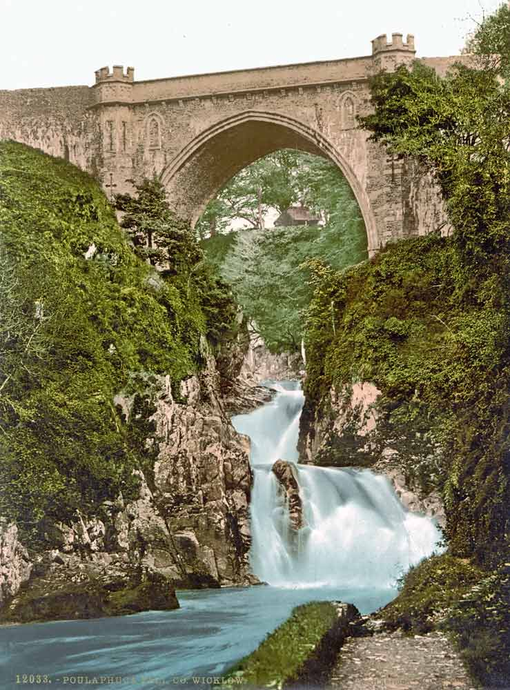 old postcard of Poulaphuca Fall