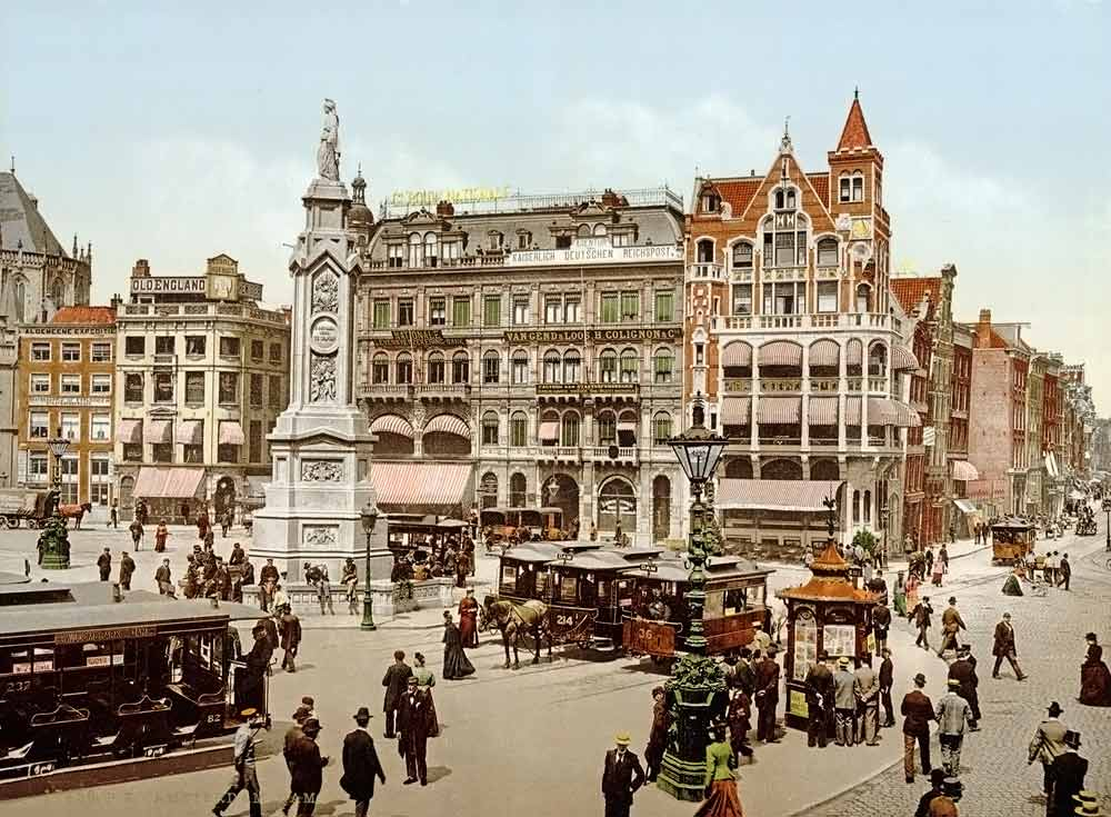 old postcard of Amsterdam