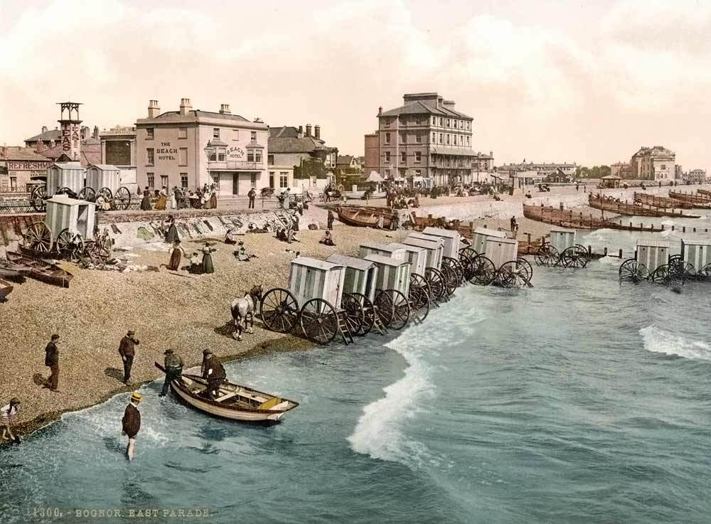 Old postcard of Bognor beach