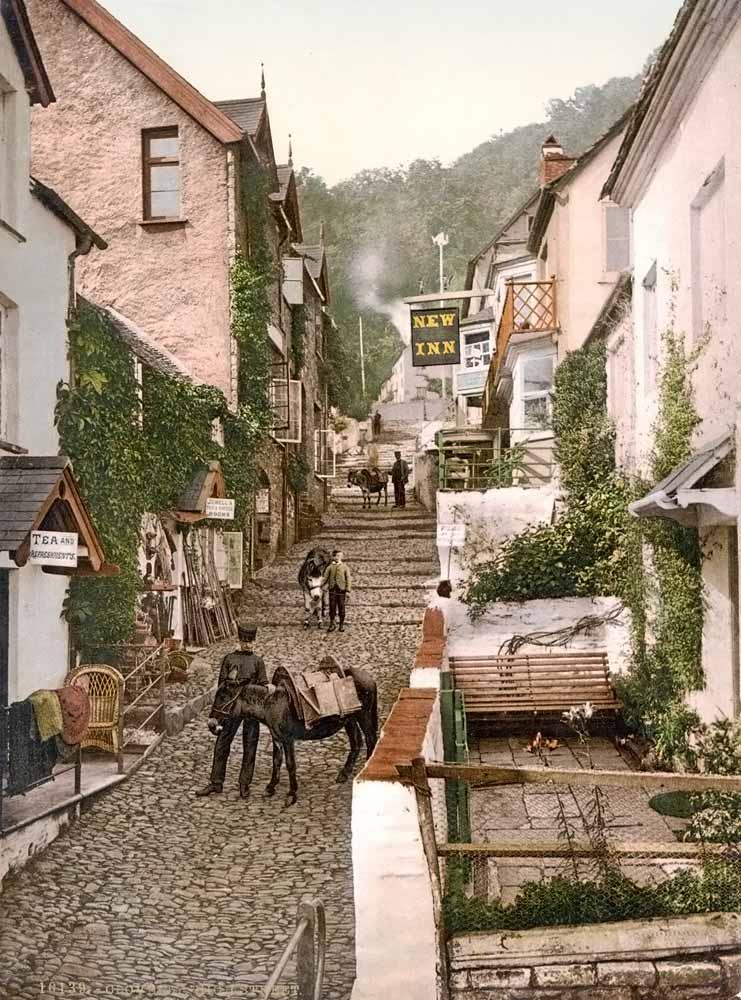 Old postcard of the Clovelly high street