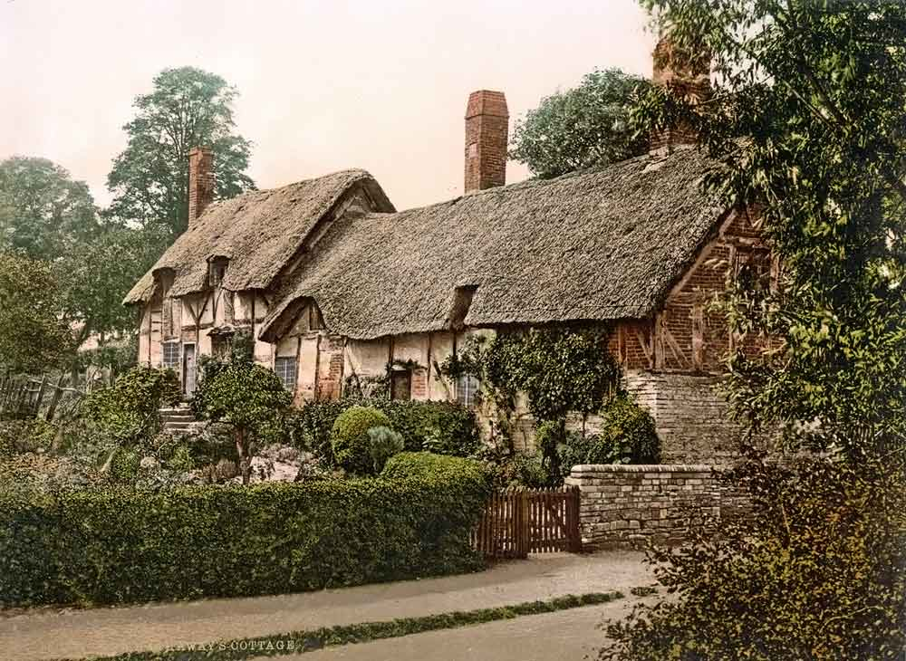 Old postcard of an English cottage