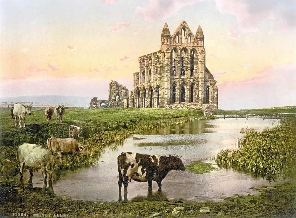 Old postcard of Whitby abbey