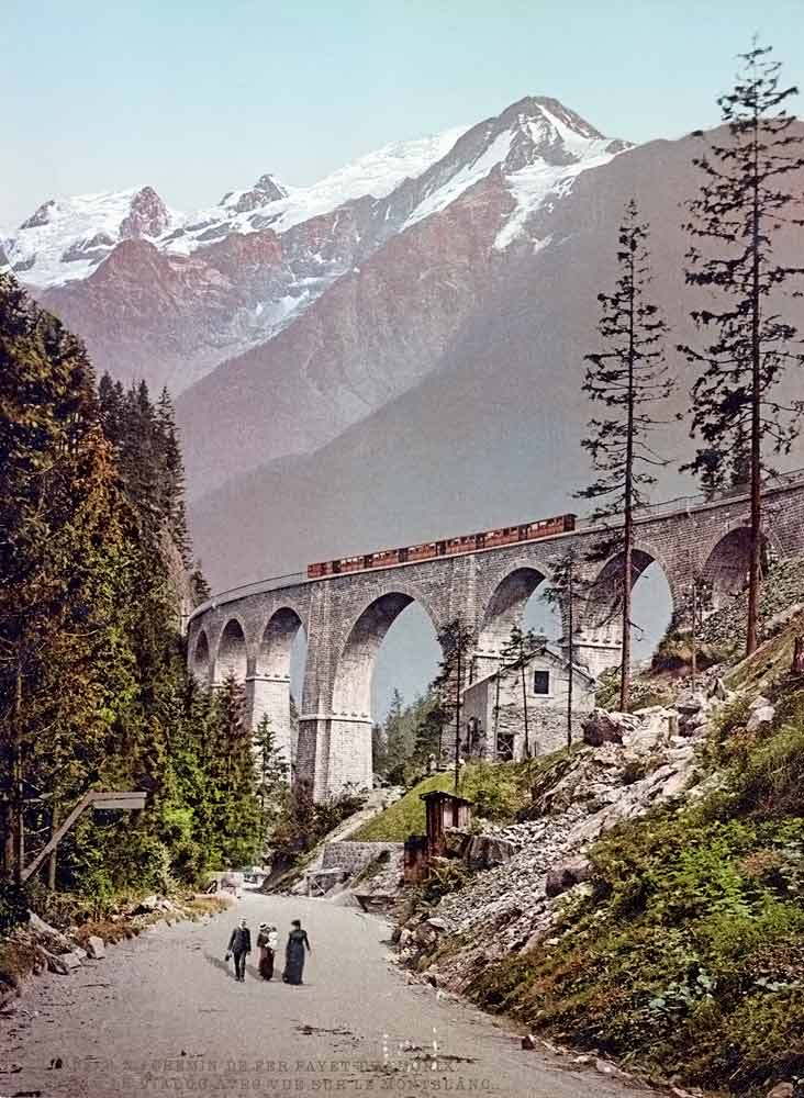 photograph of railway bridge in France