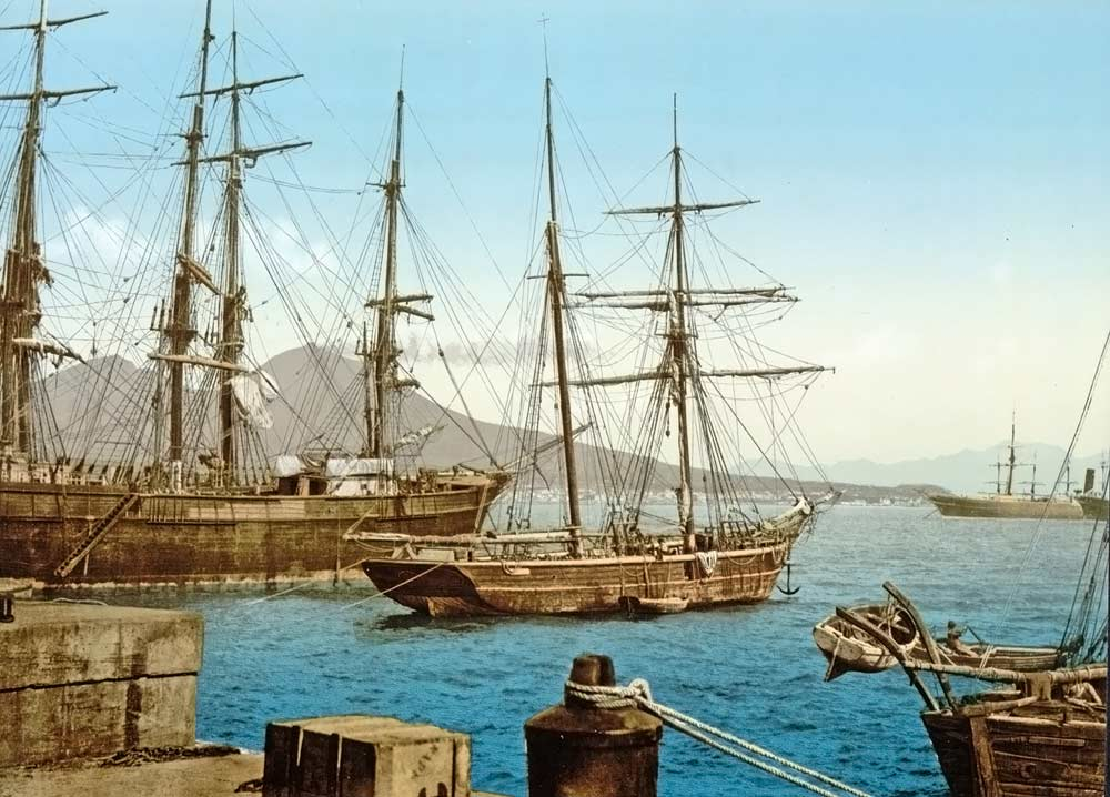Old postcard of the harbour of Naples