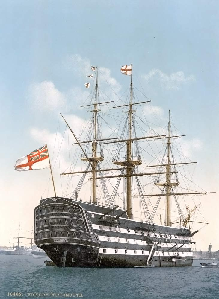 Old postcard of the Victorious flagship of admiral Nelson