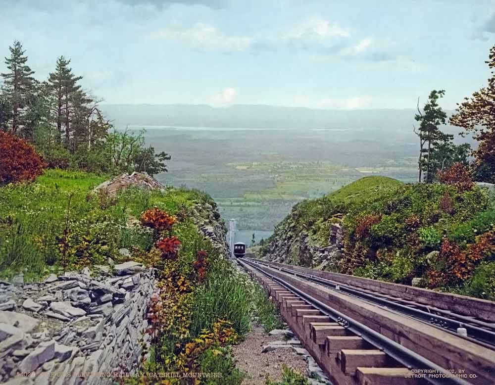 old postcard of a mountain railway