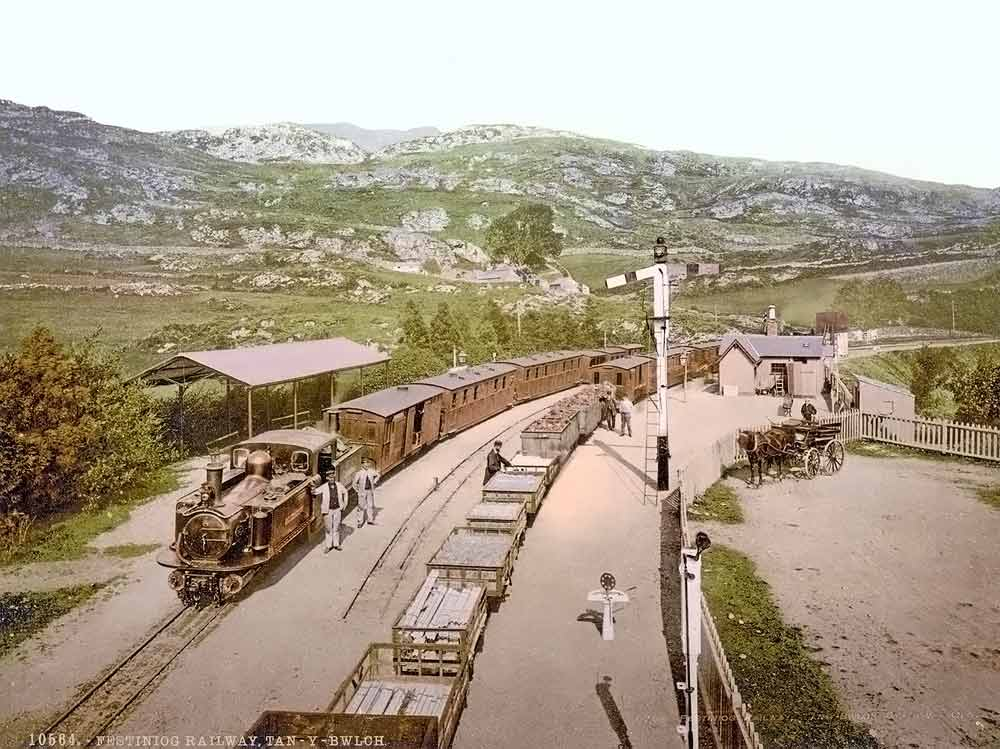 historic picture of trains in Wales