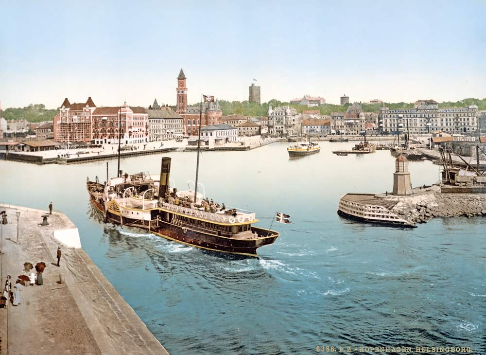 Photochrom of a Swedish paddle steamer