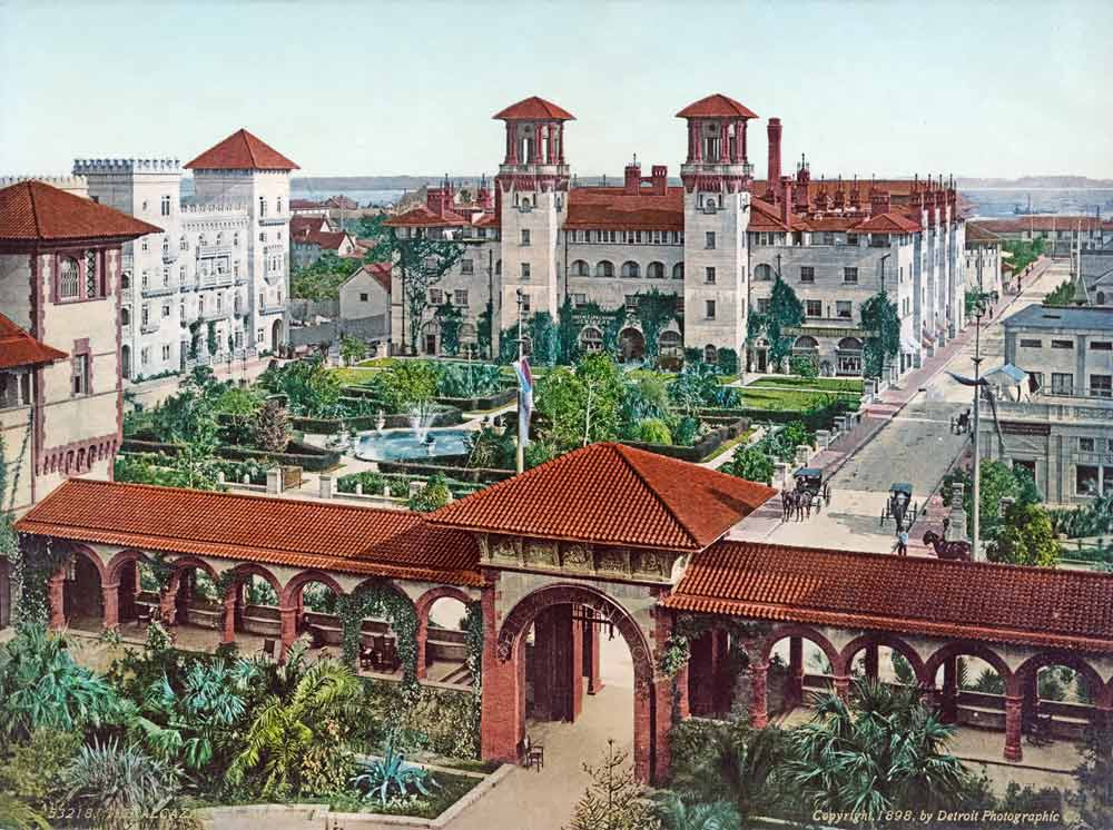 Old photograph of the Alcazar hotel in St Augustine