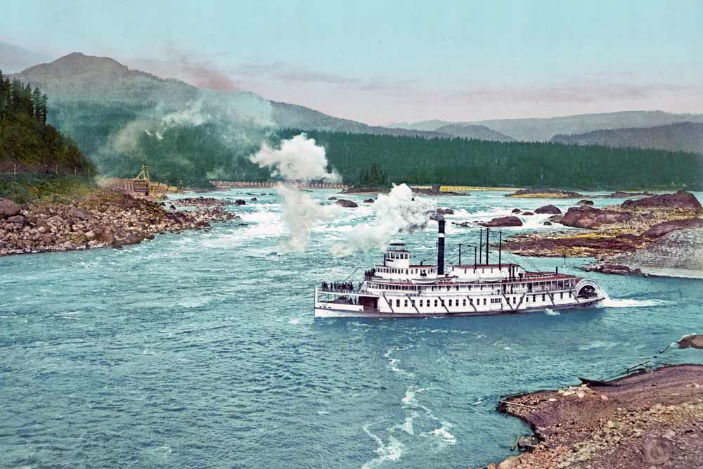 old postcard of the Columbia river
